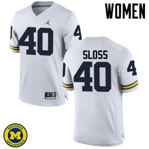 Michigan Wolverines #40 Kenneth Sloss Women's White College Football Jersey 859798-194
