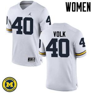 Michigan Wolverines #40 Nick Volk Women's White College Football Jersey 246691-343