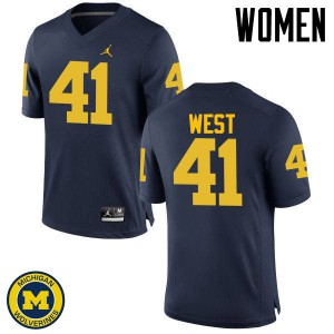 Michigan Wolverines #41 Jacob West Women's Navy College Football Jersey 580098-180
