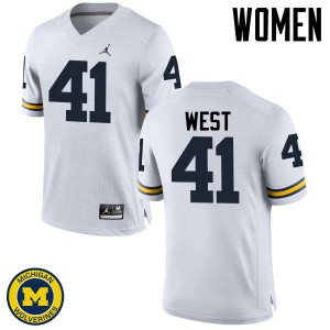 Michigan Wolverines #41 Jacob West Women's White College Football Jersey 692301-562