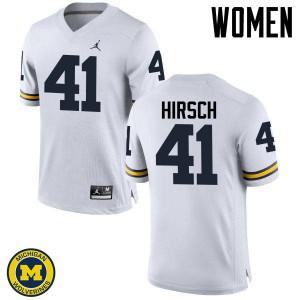 Michigan Wolverines #41 Michael Hirsch Women's White College Football Jersey 635553-932