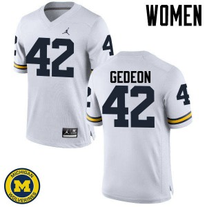 Michigan Wolverines #42 Ben Gedeon Women's White College Football Jersey 861154-818