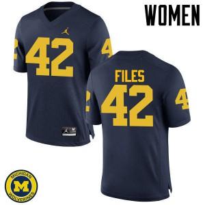 Michigan Wolverines #42 Joseph Files Women's Navy College Football Jersey 766625-572