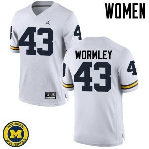 Michigan Wolverines #43 Chris Wormley Women's White College Football Jersey 335135-676