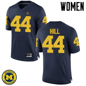 Michigan Wolverines #44 Delano Hill Women's Navy College Football Jersey 716630-725