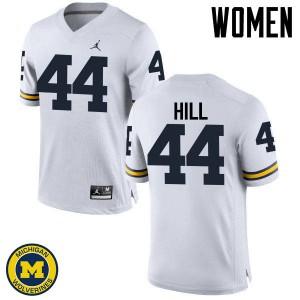 Michigan Wolverines #44 Delano Hill Women's White College Football Jersey 591710-461