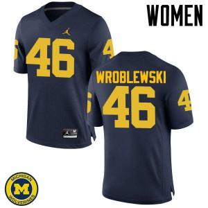 Michigan Wolverines #46 Michael Wroblewski Women's Navy College Football Jersey 800910-660