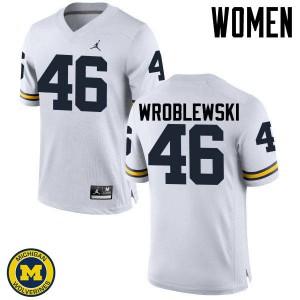 Michigan Wolverines #46 Michael Wroblewski Women's White College Football Jersey 451237-670