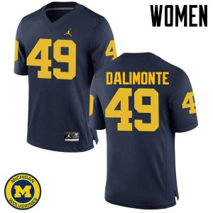 Michigan Wolverines #49 Anthony Dalimonte Women's Navy College Football Jersey 978701-669
