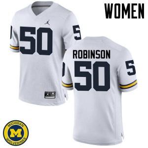 Michigan Wolverines #50 Andrew Robinson Women's White College Football Jersey 432954-529