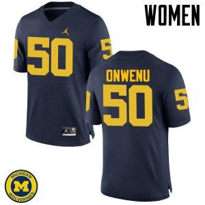 Michigan Wolverines #50 Michael Onwenu Women's Navy College Football Jersey 421586-265