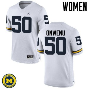 Michigan Wolverines #50 Michael Onwenu Women's White College Football Jersey 396902-295