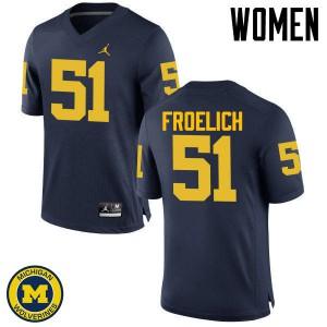 Michigan Wolverines #51 Greg Froelich Women's Navy College Football Jersey 116192-638