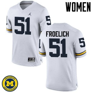 Michigan Wolverines #51 Greg Froelich Women's White College Football Jersey 122439-262