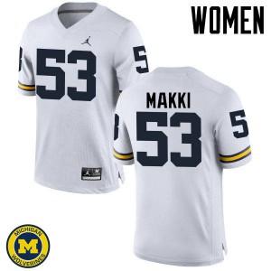 Michigan Wolverines #53 Salim Makki Women's White College Football Jersey 447150-374