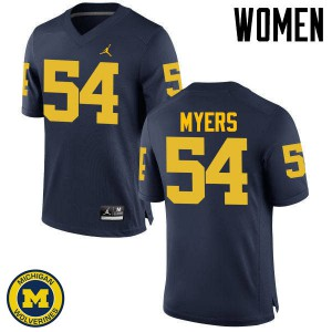 Michigan Wolverines #54 Carl Myers Women's Navy College Football Jersey 928391-710