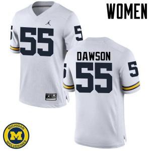 Michigan Wolverines #55 David Dawson Women's White College Football Jersey 745672-244