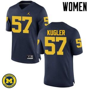 Michigan Wolverines #57 Patrick Kugler Women's Navy College Football Jersey 933442-243