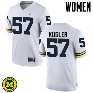 Michigan Wolverines #57 Patrick Kugler Women's White College Football Jersey 242344-672