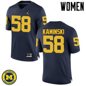Michigan Wolverines #58 Alex Kaminski Women's Navy College Football Jersey 958141-694