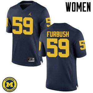 Michigan Wolverines #59 Noah Furbush Women's Navy College Football Jersey 601511-128
