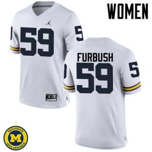 Michigan Wolverines #59 Noah Furbush Women's White College Football Jersey 874403-997