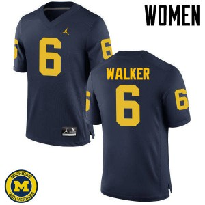 Michigan Wolverines #6 Kareem Walker Women's Navy College Football Jersey 591282-154