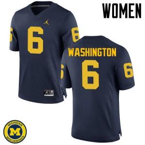Michigan Wolverines #6 Keith Washington Women's Navy College Football Jersey 466190-855
