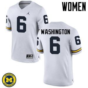 Michigan Wolverines #6 Keith Washington Women's White College Football Jersey 940903-605
