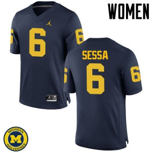 Michigan Wolverines #6 Michael Sessa Women's Navy College Football Jersey 875241-319