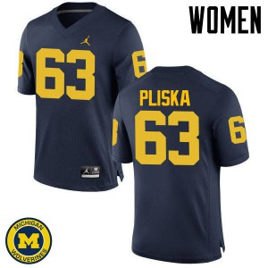 Michigan Wolverines #63 Ben Pliska Women's Navy College Football Jersey 280042-532