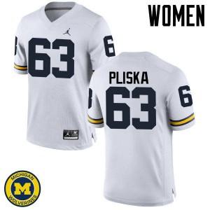 Michigan Wolverines #63 Ben Pliska Women's White College Football Jersey 392878-303