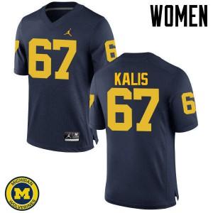 Michigan Wolverines #67 Kyle Kalis Women's Navy College Football Jersey 409437-615