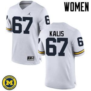Michigan Wolverines #67 Kyle Kalis Women's White College Football Jersey 866159-708