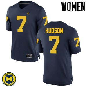 Michigan Wolverines #7 Khaleke Hudson Women's Navy College Football Jersey 146558-578