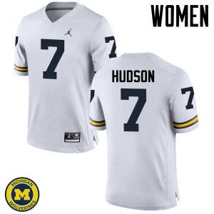 Michigan Wolverines #7 Khaleke Hudson Women's White College Football Jersey 871579-693