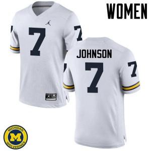 Michigan Wolverines #7 Shelton Johnson Women's White College Football Jersey 469088-709