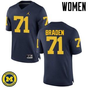 Michigan Wolverines #71 Ben Braden Women's Navy College Football Jersey 860345-284