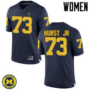 Michigan Wolverines #73 Maurice Hurst Jr Women's Navy College Football Jersey 671079-434