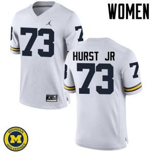 Michigan Wolverines #73 Maurice Hurst Jr Women's White College Football Jersey 505168-322
