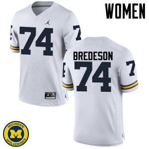 Michigan Wolverines #74 Ben Bredeson Women's White College Football Jersey 341879-588
