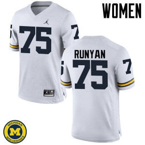 Michigan Wolverines #75 Jon Runyan Women's White College Football Jersey 221485-478