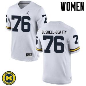 Michigan Wolverines #76 Juwann Bushell-Beatty Women's White College Football Jersey 147853-725