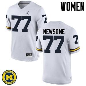 Michigan Wolverines #77 Grant Newsome Women's White College Football Jersey 528282-563