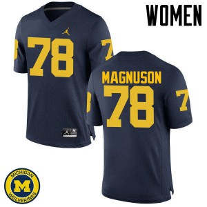 Michigan Wolverines #78 Erik Magnuson Women's Navy College Football Jersey 956414-795