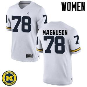 Michigan Wolverines #78 Erik Magnuson Women's White College Football Jersey 875876-979