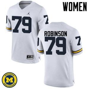 Michigan Wolverines #79 Greg Robinson Women's White College Football Jersey 341878-156
