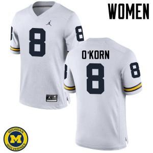 Michigan Wolverines #8 John O'Korn Women's White College Football Jersey 337280-586