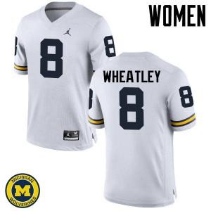 Michigan Wolverines #8 Tyrone Wheatley Women's White College Football Jersey 398724-945
