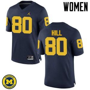 Michigan Wolverines #80 Khalid Hill Women's Navy College Football Jersey 643349-812